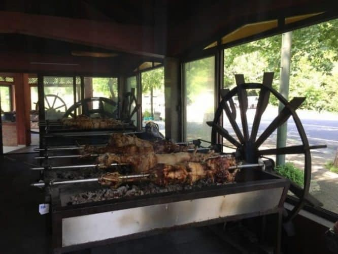 Typical local cuisine: roasted lamb on a spit.