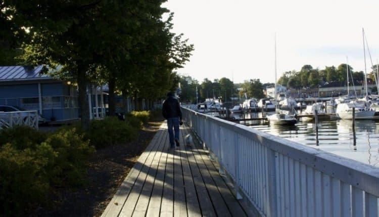Walking along the Baltic Sea in Naatali, Finland.