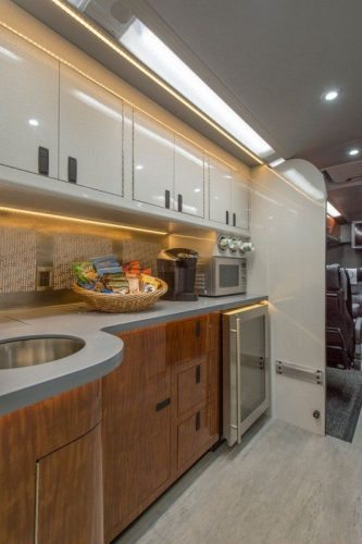 The galley, or kitchen, on the luxury LimoLiner where food is prepared.