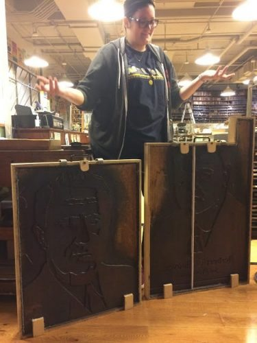Old woodblocks once used in a election in the 1940s are still on display at Hatch Show Print.