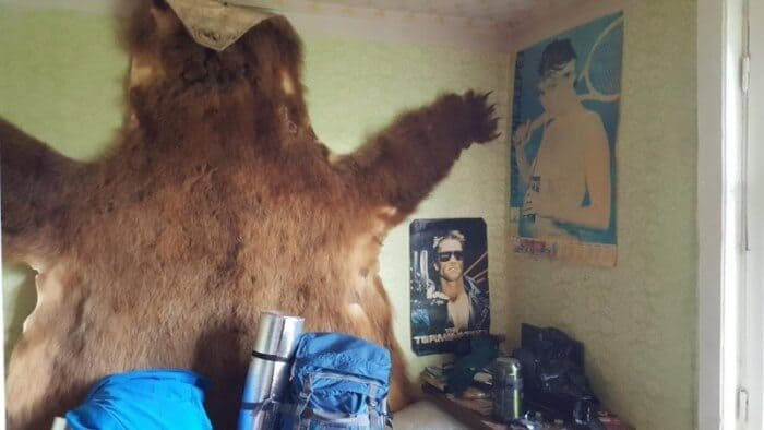 A bear skin decorates a room in Kamchatka.