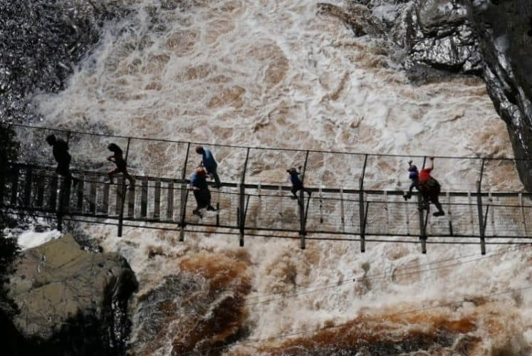 "Canyon Saint Anne suspension bridge, ""The Grand Canyon of Quebec."""