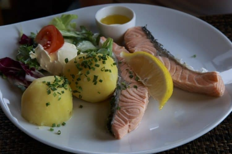 Poached wild salmon in Norway.