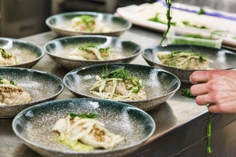 Norway, Restaurant Nyt: Small (250g) freshwater Char fish, cured in sugar and salt, then smoked, served with pickled onion, brocoli cream.