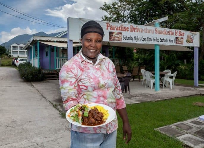 Chef Paulette Fredericks Paradise Drive Through Nevis