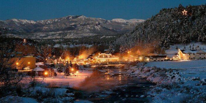 Springs Resort at night in Pagosa, Colorado. Photo credit Colorado.com