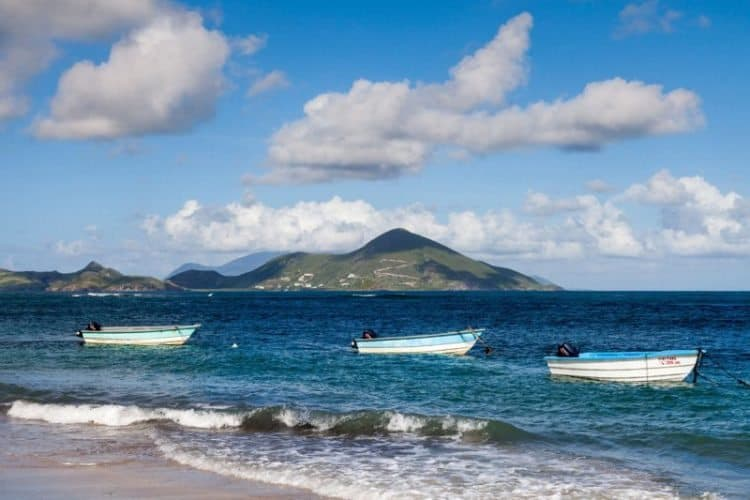 St. Kitts  from the shores of Nevis . Together they form the smallest Caribbean country.
