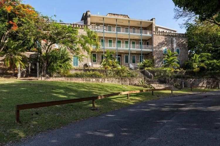 The Bath Hotel, first hotel in the Caribbean, now houses the island's government offices, Nevis
