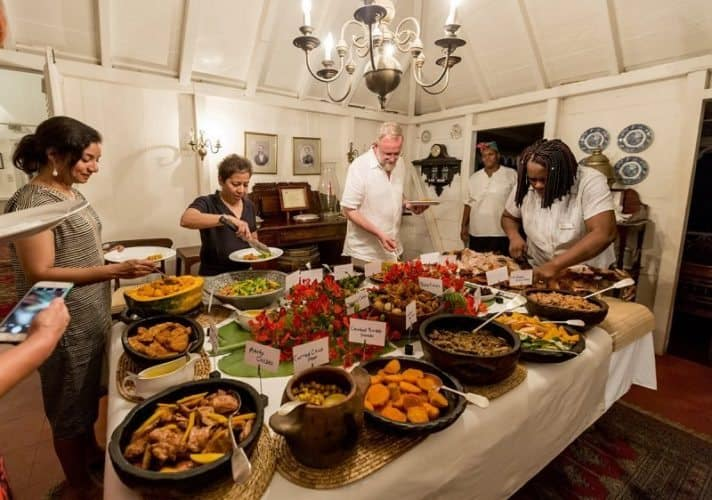 Wednesday night Pig roast and West Indian Buffet at Hermitage Plantation.