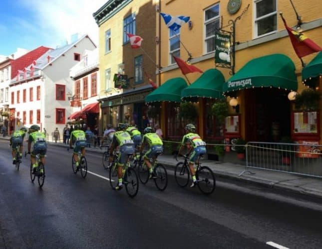 Bike racers whiz down Rue St. Jean in Quebec City's annual Grand Prix Cycliste race.