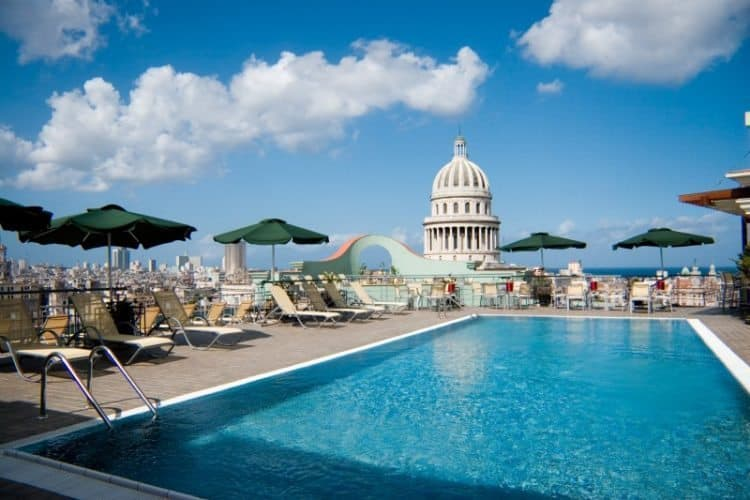 The highlight of the Hotel Saratoga to many guests in their rooftop pool with great views of Havana.