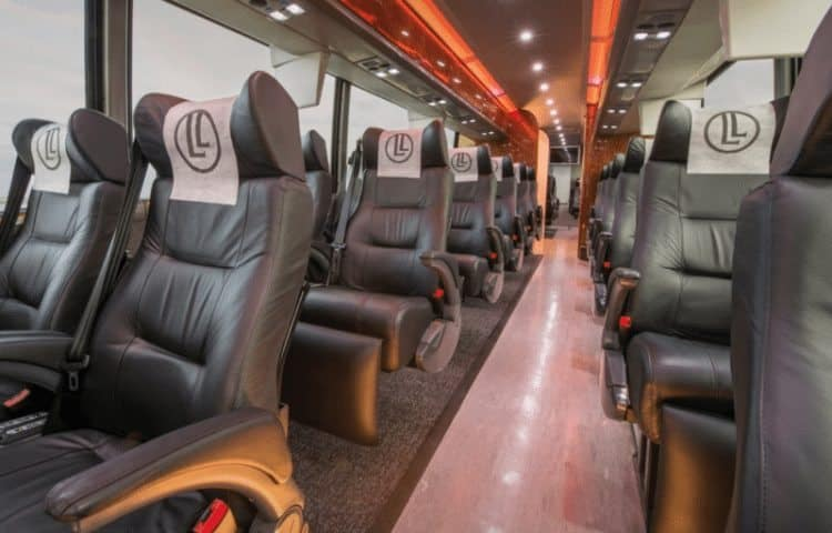The interior of the custom designed coaches that LimoLiner uses are appealing and comfortable.