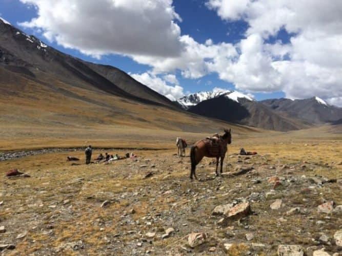 A well-deserved lunch break gazing toward Tajikistan, at Aqbelis Pass.