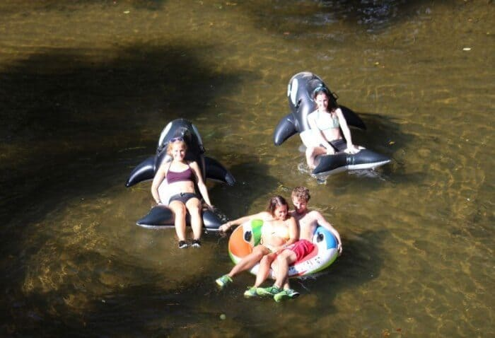 Tubers enjoy a slow float on the Gunpowder River