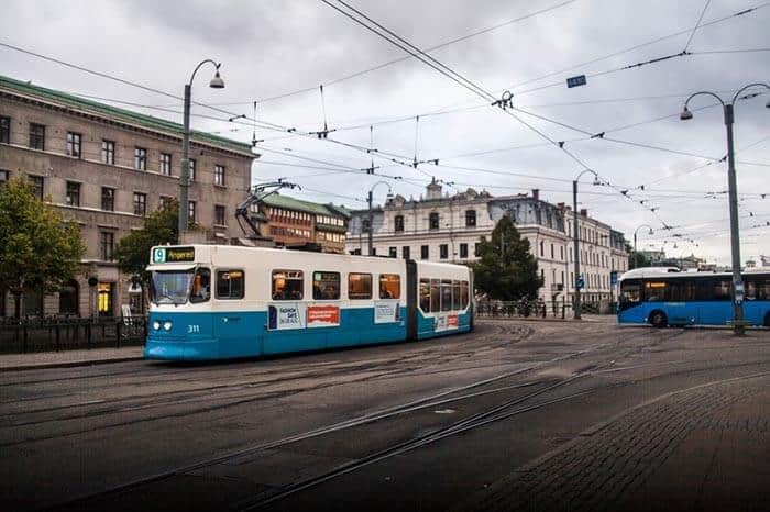 Iconic blue streetcars in Gothenburg, Sweden. Andy Castillo photos.