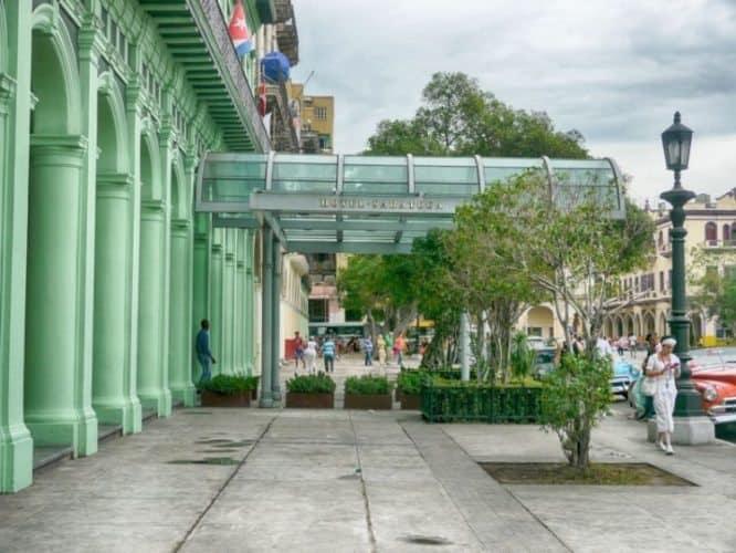 Entrance to the Hotel Saratoga in Havana.