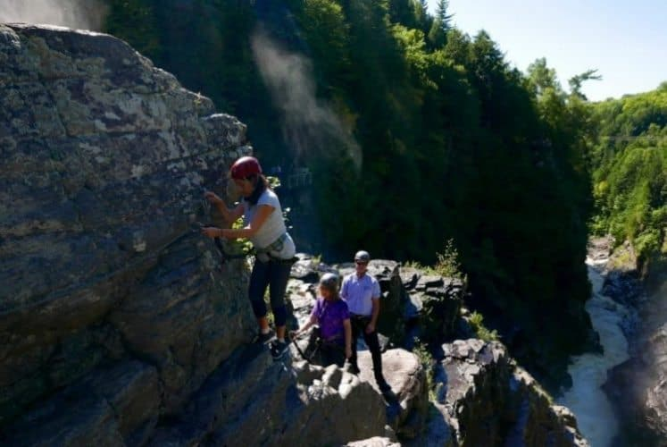 Hiking and rock climbing in the Canyon Sainte Anne.