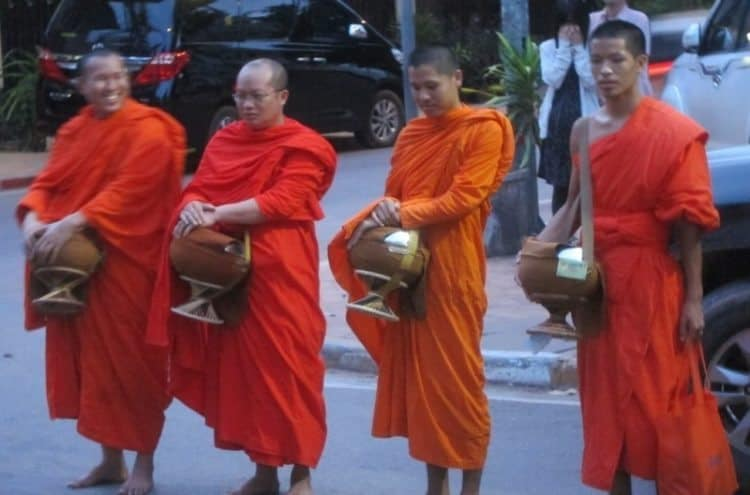 Tak-Bat: Monks reciting dharma in Vientenne, Laos. James Dorsey photos.