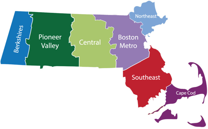 Map showing the location of the Pioneer Valley of Massachusetts and the other regions of the state.