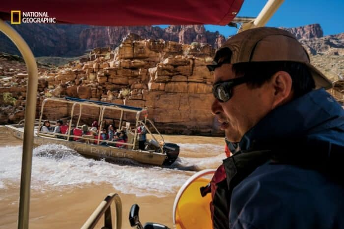 Boating along the Colorado river in the Grand Canyon