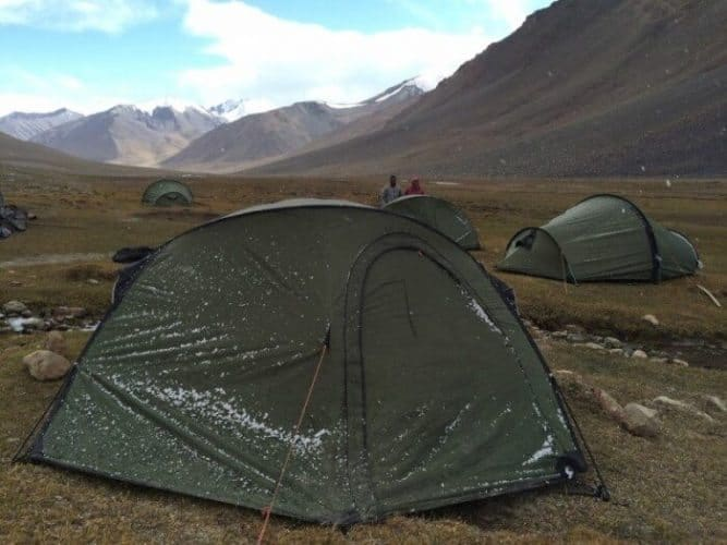 Snow dusted our tents on more than one occasion during the trek through Afghanistan.