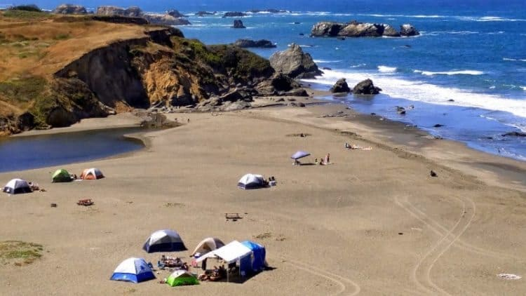 Tent camping on the beach at Wages Creek, along Hwy 1, north of Fort Bragg CA, Mendocino County.