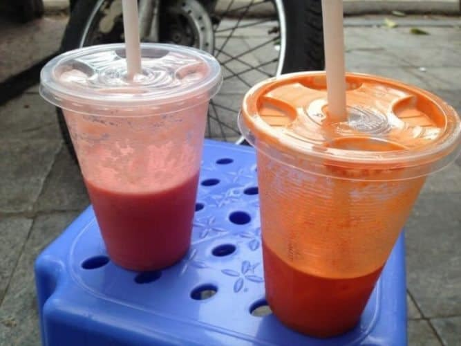 Trang Juice Smoothies (Watermelon and Carrot/Pineapple in Hanoi.