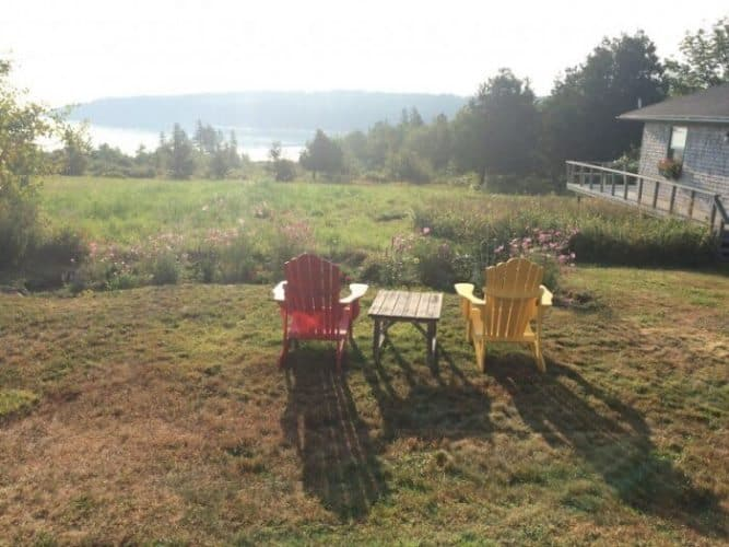 At the Inn at Whale's Cove, a few seats with great views in the early morning light.