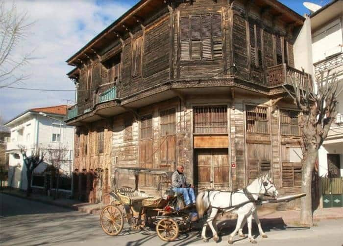 19th-century wooden mansion with feyton passing by on Buyukada, Istanbul, Turkey. Geraldine Brady photos.