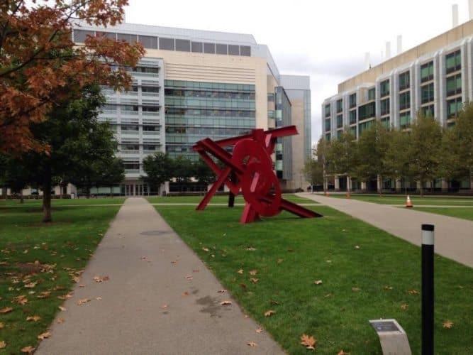 Sculpture by artist Mark di Suvero at MIT.