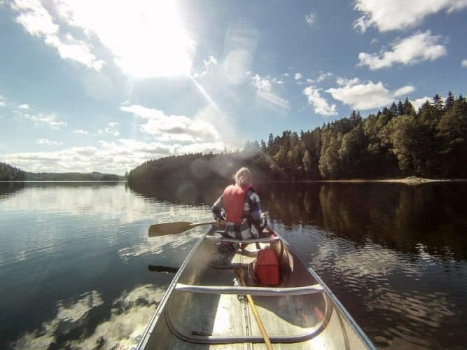 Canoeing in Dalsland, through lakes clean enough to drink from.
