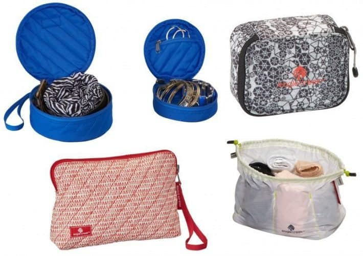Eagle Creek Pack it group of small pouches for women travelers.