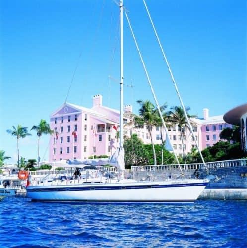 A sailboat graces the harbor in Hamilton, Bermuda.