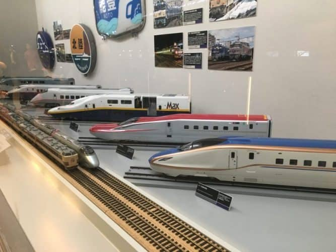 In the railway museum in Omiya, models of Shinkansen locomotives.