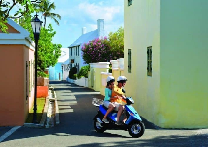 Zipping around St Georges on a scooter is a tradition in Bermuda.