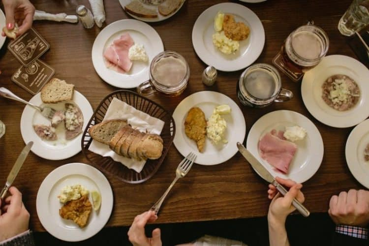 A set of traditional, Czech dishes.