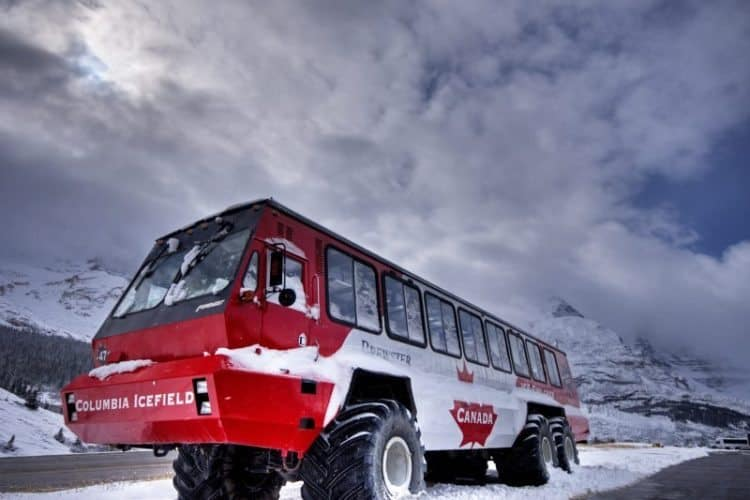 Terra bus that takes visitors up into the Athabasca Glacier, in Alberta Canada.