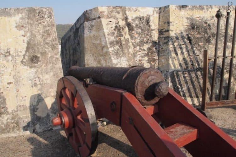 A cannon at Castillo San Felipe de Barajas, in Cartagena.