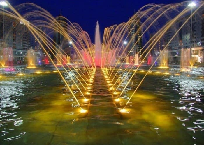 """The central square also is not only famous for its fountains, but is also home to the city """"akimat"""" or administration buildings."""