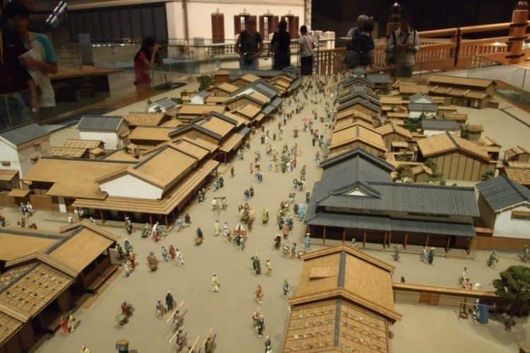 Model of a Shogun palace at Edo Tokyo Museum.