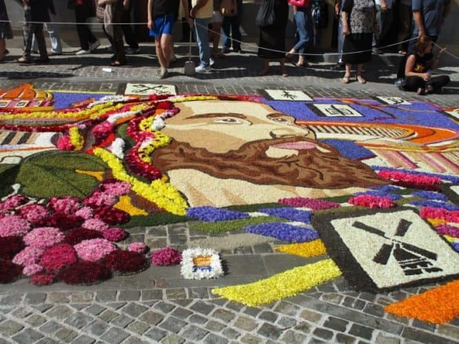 Jesus is created in flower petals at the annual Infiorata celebration in Spello, Italy. Marianna Morè photos.
