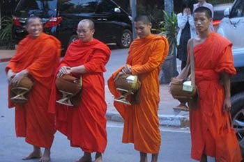 Tak-Bat: Giving Alms in Vientiane Laos