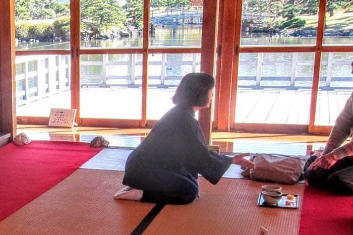 Japanese tea service in Hama Rikya Garden, Tokyo. Elizabeth von Pier photos.