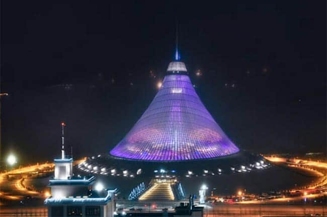 The world's largest tent in Astana, Kazakhstan, which features a shopping center and indoor beach. All photos from www.visitkazakhstan.kz/ and lonelyplanet.com
