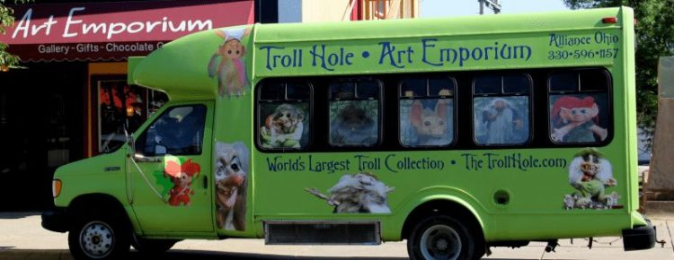 A truck advertisement for the museum in Ohio. Troll Hole Museum photos