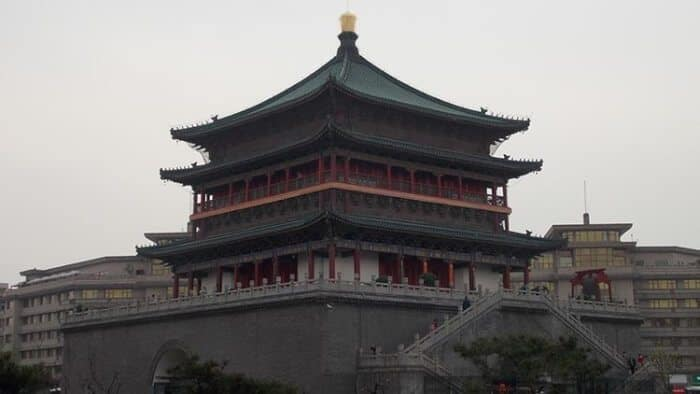 The impressive bell tower in Xi'an, China.