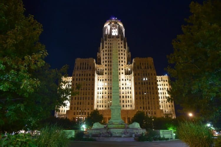 Buffalo's art-deco inspired City Hall architecture is an impressive sight at night