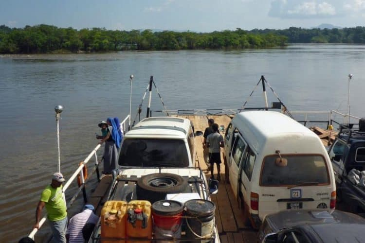 Our minibus on the ferry crossing Guyana's largest river, the Essequibo River
