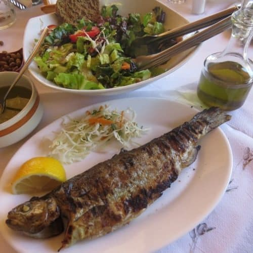 Grilled trout is a common specialty on Crete, raised in ponds.