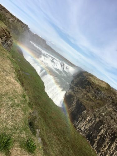 The Gullfoss waterfall is an easy stop from Geysir. A boardwalk walks tourists right up to the edge.